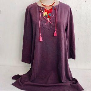 Boden Neon Lace Up Tassel Tunic Dress